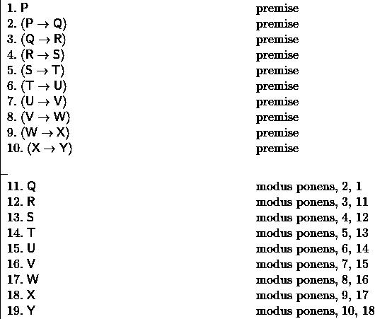 \[ \fitchprf{\pline[1.] {P} [premise]\\ \pline[2.]{(P \lif Q)} [premise]\\ \pline[3.]{(Q \lif R)} [premise]\\ \pline[4.]{(R \lif S)} [premise]\\ \pline[5.]{(S \lif T)} [premise]\\ \pline[6.]{(T \lif U)} [premise]\\ \pline[7.]{(U \lif V)} [premise]\\ \pline[8.]{(V \lif W)} [premise]\\ \pline[9.]{(W \lif X)} [premise]\\ \pline[10.]{(X \lif Y)} [premise]\\ } { \pline[11.]{Q} [modus ponens, 2, 1]\\ \pline[12.]{R} [modus ponens, 3, 11]\\ \pline[13.]{S} [modus ponens, 4, 12]\\ \pline[14.]{T} [modus ponens, 5, 13]\\ \pline[15.]{U} [modus ponens, 6, 14]\\ \pline[16.]{V} [modus ponens, 7, 15]\\ \pline[17.]{W} [modus ponens, 8, 16]\\ \pline[18.]{X} [modus ponens, 9, 17]\\ \pline[19.]{Y} [modus ponens, 10, 18] } \]
