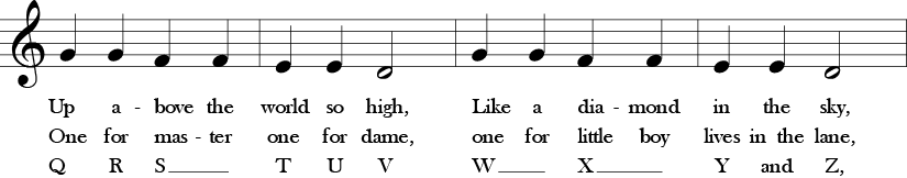 Second four measures of Twinke Twinkle with alternate lyrics verse 2 Baa baa black sheep, and verse 3 ABC song. Treble clef and 4/4 time signature and G Quarter Note, G Quarter Note, F Quarter Note, F Quarter Note, E Quarter Note, E quarter note, D half note, G quarter note, G quarter note, F quarter note, F quarter note, E quarter note, E quarter note, D half note.