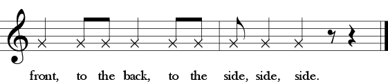 "Sixth phrase of three measure of ""Here We Go, Zudio."" Rhythm only 1/4, 1/8, 18, 1/4, 1/8, 1/8. 1/8, 1/4, 1/4m 1.7 restm 1.4 rest, Lyrics front, to the back, to the side, side, side."