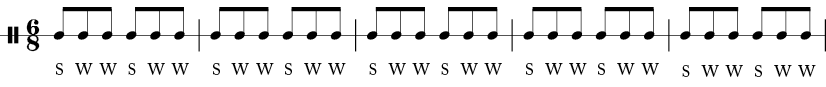 5 measures in 6/8 time signature. Each measure has six 1/8 notes with pattern S-W-W-S-W-W.
