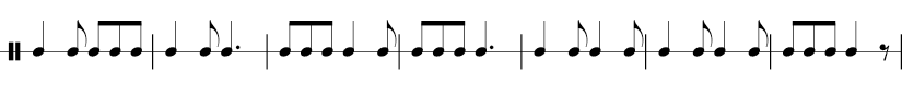 7 measures in 6/8 time signature. 1/4 1/8 1/8 1/8 1/8  | 1/4 1/8  dotted 1/4 | 1/8 1/8 1/8  1/4 1/8  | 1/8 1/8 1/8  dotted 1/4 | 1/4 1/8 1/4 1/8  | 1/4 1/8 1/4 1/8 | 1/8 1/8 1/8  1/4 1/8 rest |