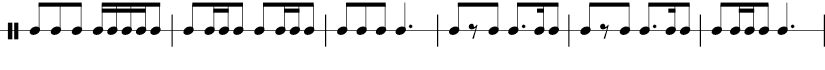 6 measures in 6/8 time signature. 1/8 1/8 1/8 1/16 1/16 1/16 1/8 | 1/8 1/16 1/16 1/8 1/16 1/16 1/8 |1/8 1/8 1/8 dotted 1/4 1/8 1/8 rest 1/8 dotted 1/8 1/16 1/8 | 1/8 1/8 rest 1/8 dotted 1/8 1/16 1/8  | 1/8 1/16 1/16 1/8  dotted 1/4 |