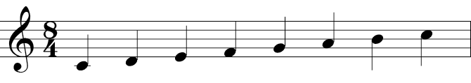 Treble clef with the 8 note C Major scale - C, D, E, F, G, A, B, C.