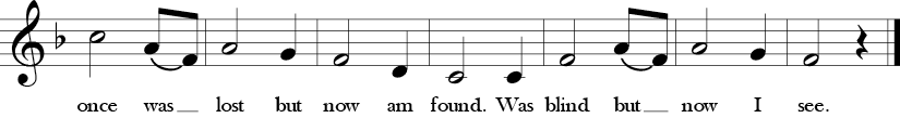 Second 7 measures of Amazing Grace in Key of F Major. Ending note is a half note F.