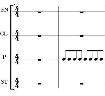 """img alt=""""4/4 Time Signature. Each body percussion type has it's own line on the four measure score. Each measure has rests except for the P which has repeated 1/8 notes in 2nd measure."""""""