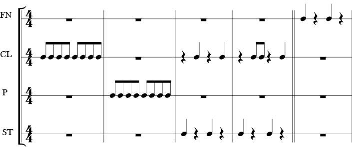4/4 Time Signature, 10 measure score in which each body percussion part has it's own line with various rhythms notated for each part that are not usually the same.