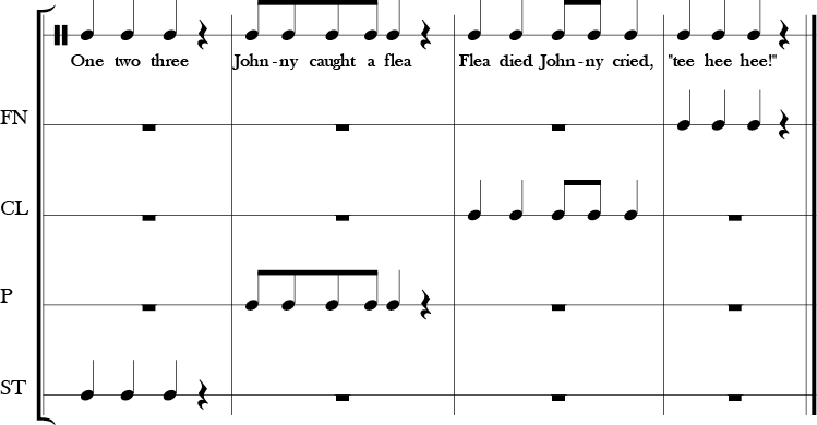 4/4 Time Signature, 4 measure score in which a vocal rhyme with only rhythm notated is added above the four body percussion parts which have their own line with various rhythm notated for each part that are not usually the same.