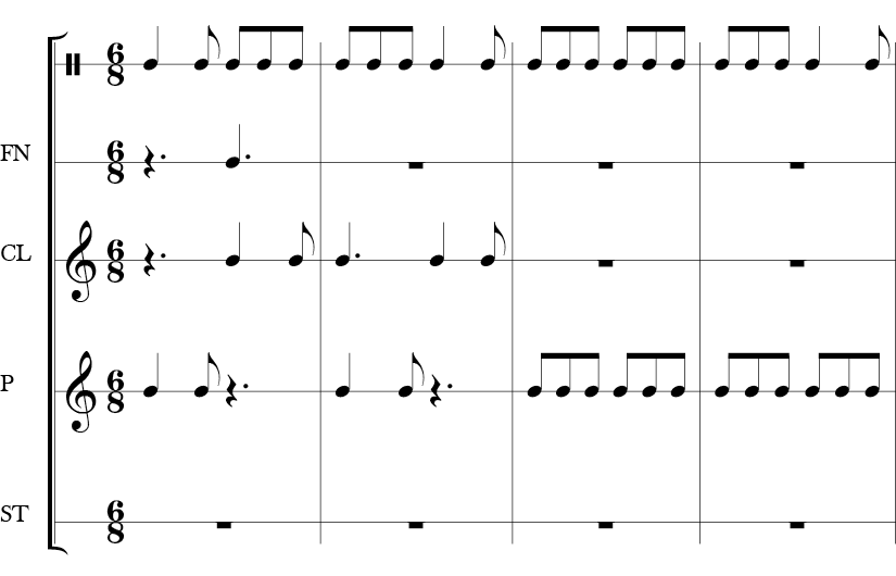 6/8 Time Signature 8 measure piece. Top line is most active presumably the rhythm for the rhyme. The bottom four are the hand percussion parts with various entries and rhythmic motifs.