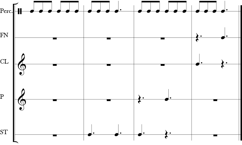 6/8 Time Signature 8 measure score. Top line most active and presumably the rhyme in rhythm though without words. The four lower parts are the body rhythm parts with various distinct entries and notes.