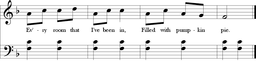 2/4 Time signature, Key of F. FLast four measures of a tune in F major pentatonic. Melody line  avoids the Bb and E while the bass repeats an open 5th F-C..