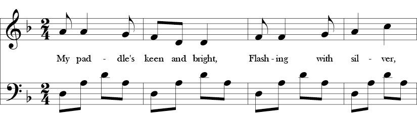 2/4 Time signature and Bb key in key signature. First four measures of a tune in D minor pentatonic in which the melody avoids the E and Bb while the base repeats an arpeggiated D-A pattern in different registers.