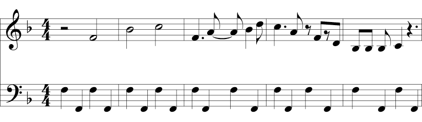 4/4 Time signature and Bb in key. This 5 measure example should have included a B natural, but it doesn't. Melody starts on an F and ends on C. The bass line is an octave F-F repeating.