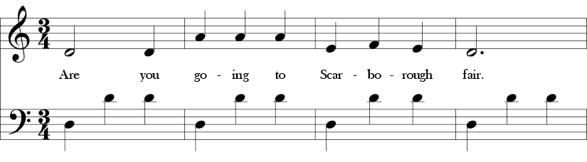 3/4 time signature with first four measures of the song with D dorian melody in the top ain a D-D-D repeated pattern in the bass line.
