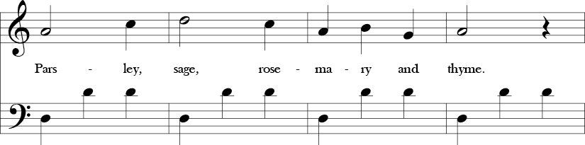 3/4 time signature with last four measures of the song with D dorian melody in the top ain a D-D-D repeated pattern in the bass line.