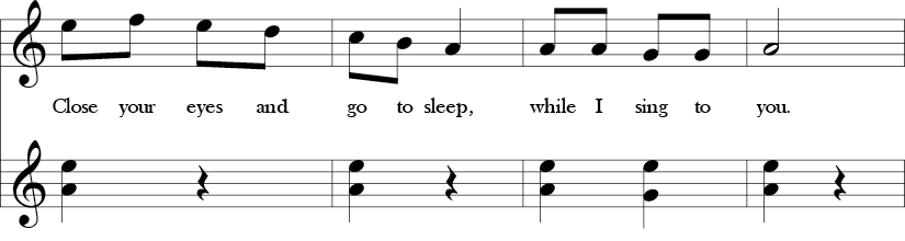 2/4 time signature and no key signature. Last four measures of song with melody in A Aeolian and bass line with C-G and one B-G interval before last beat.