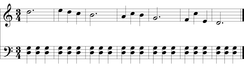 3/4 time signature with simple D mixolydian melody in the treble clef and a repeated D-G in the bass line.