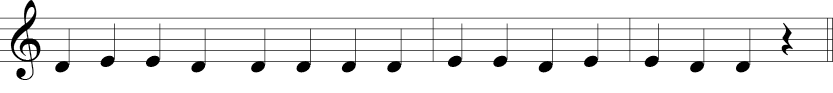 4/4 time signature in treble clef where melody is D to E quarter notes.