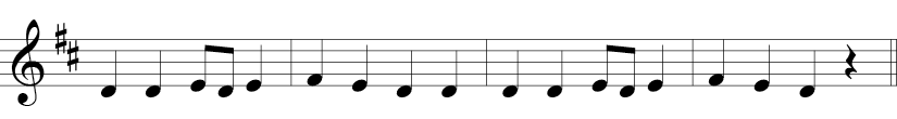 4/4 time signature, F and C sharp in key signature, and sour measures. Melody consists of D, E, F notes.
