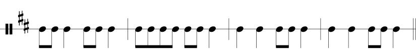 4/4 time signature, F & C sharp in key, 4 measures with rhythms notated only.