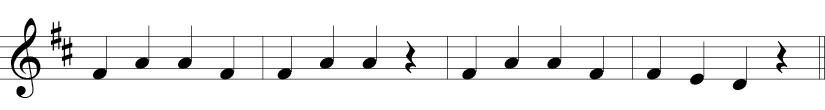 4/4 time signature in treble clef with F and C sharp where melody is simply Fs, As, and F, E, D at the end..