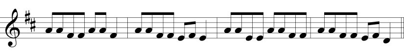4/4 time signature in treble clef with F and C sharp where melody is mainly 1/8 notes but simply Fs, As, Es, and E, F, D at the end..