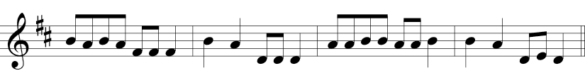 4/4 time signature in treble clef with F and C sharp where melody is mainly 1/8 notes but simply Fs, As, Bs, Es, and D, E, D at the end..