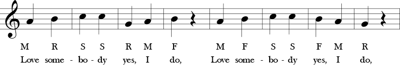 2/4 time signature no sharp and no flats 8 measures. First 4 measures of the melody in 1/4 notes with the solfege and lyrics below each note.
