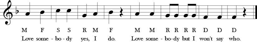 2/4 time signature no sharp and no flats 8 measures. Last 4 measures of the melody in 1/4 notes with the solfege and lyrics below each note.