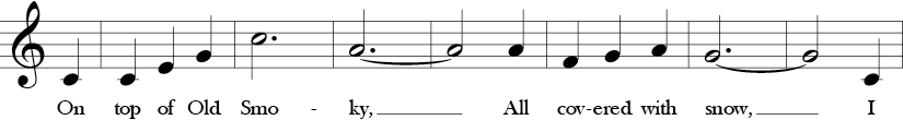 3/4 time signature in Key of C. First 7 measures of song starting with C and ending with G and a pickup C into next 7 measures.