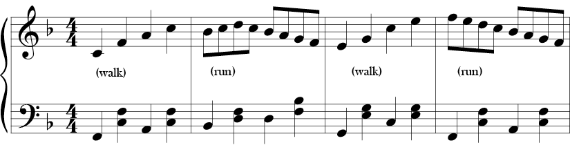 4/4 time F major key. First 4 measures where arpeggiated movement and stepwise movement in the melody alternate and the bass outlines various F chords.