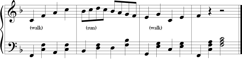 4/4 time F major key. Last 4 measures where arpeggiated movement and stepwise movement in the melody alternate and the bass outlines various F chords.
