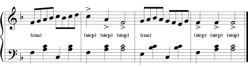 4/4 time F major key. Last 4 measures where arpeggiated movement and stepwise movement in the melody alternate and the bass outlines various F chords. A few accents added to the melody.