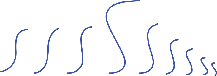 Squiggles that look like different sized elongated Ss.