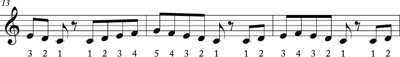 4/4 time signature where three measure melody has the first 5 notes of the scale in various rhythms. Numbers are beneath each melody.