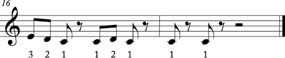 4/4 time signature where two measure melody has the first 3 notes of the scale in various rhythms. Numbers are beneath each melody.