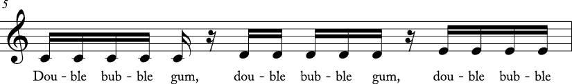 4/4 time signature C major key. First measures has stepwise ascending motion from C to E. Lyrics are double bubble gum..