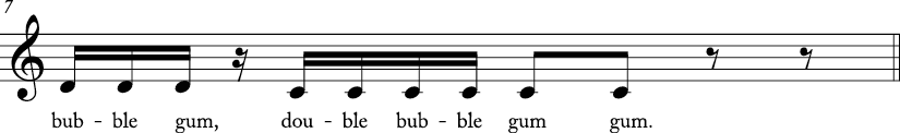 4/4 time signature C major key. Third measure has stepwise descending motion from D to C. Lyrics are double bubble gum..