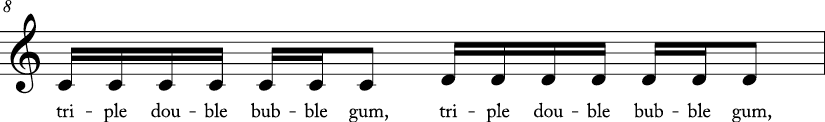 4/4 time signature C major key. First measure has stepwise ascending motion from C to D. Lyrics are triple double bubble gum..