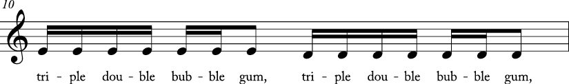 4/4 time signature C major key. Third measure has stepwise descending motion from E to D. Lyrics are triple double bubble gum..