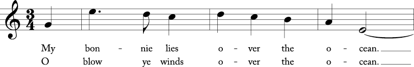 3/4 time signature in C major. First three measures of song with a pick up G.