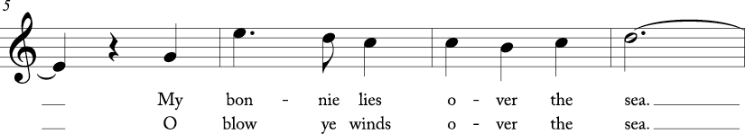 3/4 time signature in C major. Second four measures of song.