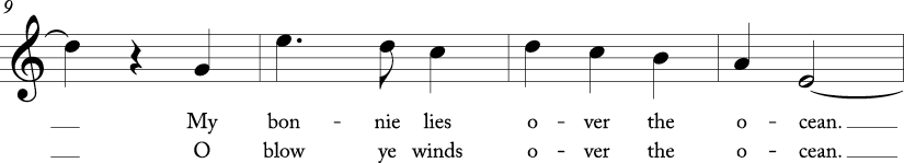 3/4 time signature in C major. Third four measures of song.