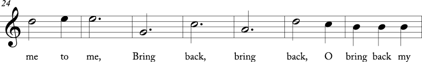 3/4 time signature in C major. Sixth seven measures of song.