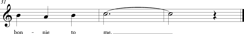 3/4 time signature in C major. Last three measures of song.