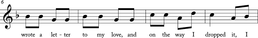 "2/4 time signautre in F major. Second 4 measures of ""A Tisket, A Tasket."""