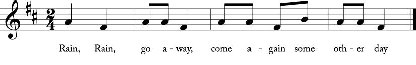 2/4 time signature key of D major. Melody line with lyrics for Rain, Rain Go Away.