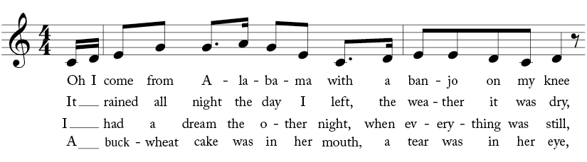 """4/4 time signature key of C major. Pick up and first two measures of """"Oh! Susanna"""""""