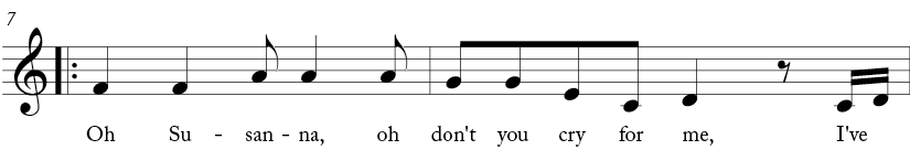 "4/4 time signature key of C major. Third two measures of ""Oh! Susanna"""