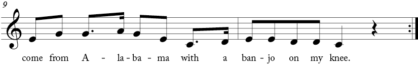 "4/4 time signature key of C major. Last two measures of ""Oh! Susanna"""