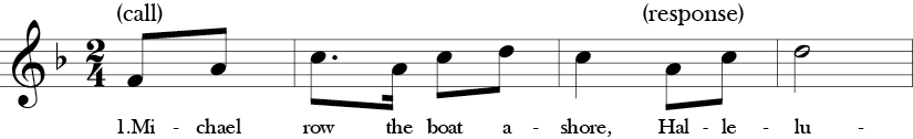 "2/4 time signature key of F Major. Pick up to first three measures of ""Michael Row Your Boat Ashore."""